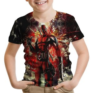 Camiseta Infantil Deadpool Estampa Total MD01