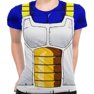 Baby Look Feminina Vegeta Dragon Ball Traje