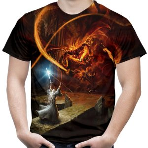 Camiseta Masculina Gandalf You Shall Not Pass Estampa Total Md02