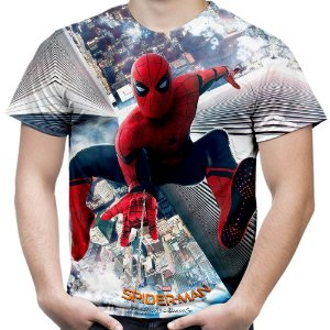 Camiseta Masculina Homem Aranha De Volta ao Lar Estampa Total