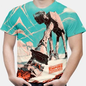 Camiseta Masculina Walker AT-AT Star Wars Estampa Total