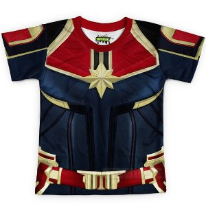 Camiseta Infantil Capitã Marvel Traje Estampa Total Md02