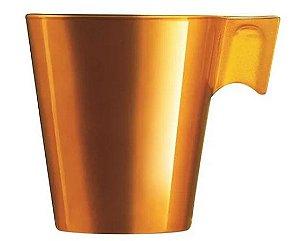 Xícara Vidro Temperado Dourado 80Ml