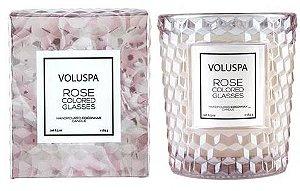 Vela Voluspa Rose Colored Glasses, copo trabalhado 3D -40 horas