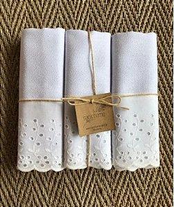 Pano de prato  Sacaria Premium  Barrado Bordado Inglês- Kit c/ 3 unidades