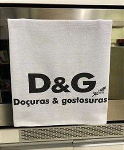 Pano de prato sacaria Premium Doçuras e Gostosuras.