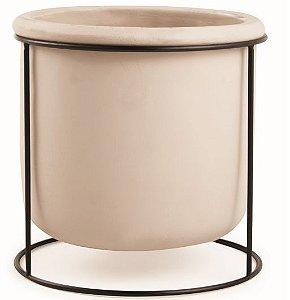 Cachepot de cimento com suporte em metal - Nude