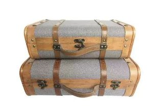 Conjunto de maletas de madeira e metal -Marrom e cinza