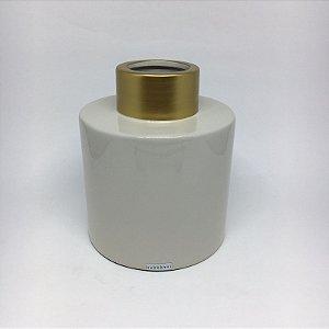 Vaso de ceramica com detalhe dourado -P