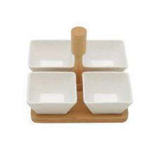 Conjunto de 4 petisqueira de Porcelana C/ Suporte Bambu.