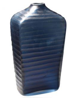 Vaso de Vidro com Textura Azul- 18 X 12 X 34,5 cm