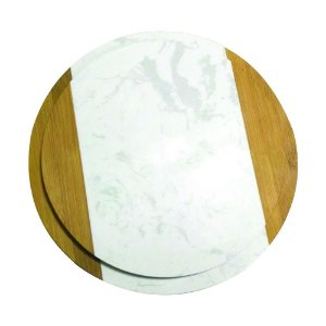 Conjunto de tábua circular para queijos de mármore e madeira