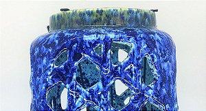 Lamparina de cerâmica para áreas externas Azul Lila, 24cm
