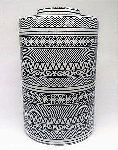 Potiche Tribal de porcelana preto e branco