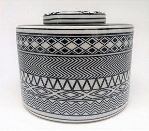 Potiche tribal preto e branco - 21 x 16 cm