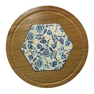 Tábua para queijos, de bambu, com cerâmica pintada a mão, azul - 25cm