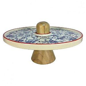 Prato de cerâmica colorida com base de madeira Teca - 30 x 20 cm