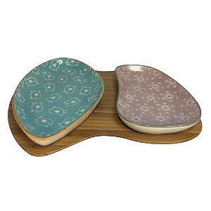 Petisqueira de cerâmica com bandeja de bambu - Kit 3 peças