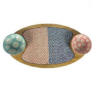 Tábua e Petisqueira de bambu e cerâmica, com 2 bowls coloridos - 4 peças