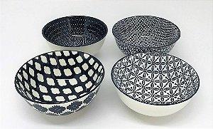 Conjunto de Bowls de Porcelana, preto e branco, 12 x 6 cm - 4 pçs, Incasa
