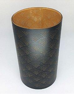 Lanterna ou vaso de vidro com acabamento em metal preto e dourado - 25 x 15 cm