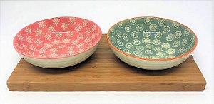 Petisqueira de cerâmica com bandeja de bambu P - Kit 3 pçs