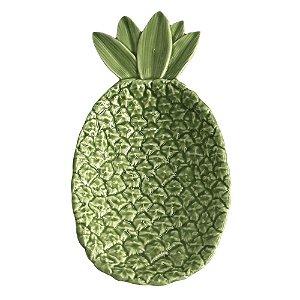 Prato Decorativo para Petisco verde, Abacaxi G - 28 x 15cm