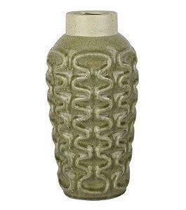 Vaso decorativo com textura verde e bege de cerâmica - 17 x 31cm