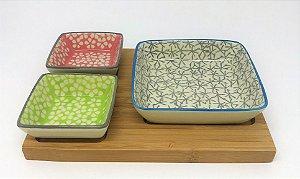 Petisqueira de cerâmica com bandeja de bambu - Kit 4 peças