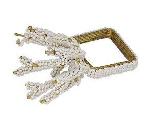 Conjunto de porta guardanapos dourados, com miçangas brancas - 4pçs