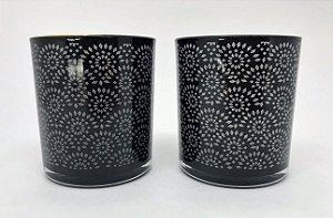 Conjunto de Porta velas de vidro, com desenhos em forma de Renda e borda Dourada - 10cm