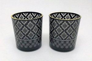 Conjunto de Porta velas de vidro Arabescos - 10cm