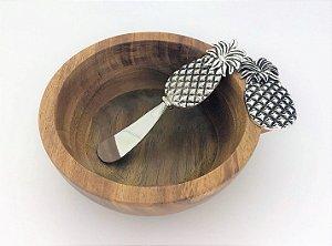 Conjunto de Bowl de madeira e espátula para patê - Abacaxi