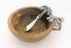 Conjunto de tigela de madeira e espátula para patê - Coqueiro - 12 x 6cm