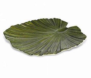 Travessa de Melamina Folha Verde - 35 x 34cm