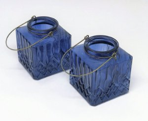 Lamparina de vidro decorado, Azul Lila - quadrado - UNIDADE
