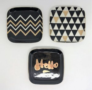 Conjunto de Pratinhos decorativos - 12 x 12 cm - 3 peças