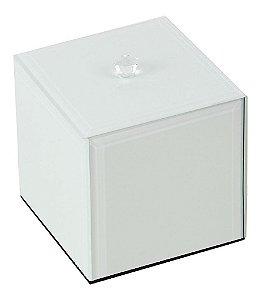 Porta Cotonetes de Vidro Branco - 10 x 12cm