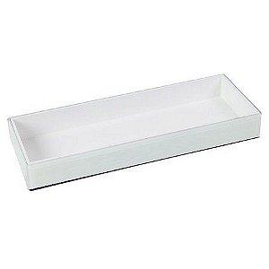 Bandeja Bath vidro e madeira branco