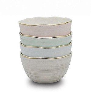 Conjunto de Bowls com borda de fio dourado - 4 unidades