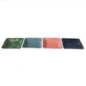 Pratinhos decorativos para petisco, retangular - Folhas - 10 x 8cm - 4 peças