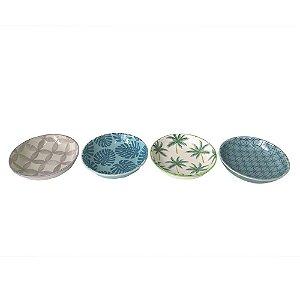 Pratinhos coloridos para petisco - Tropical - 10cm diâmetro - 4 peças