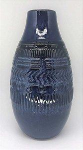 Vaso de cerâmica Lapidado, Azul Lila - Alto