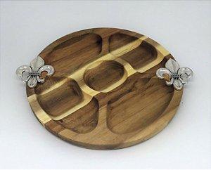 Petisqueira de madeira circular - Flor de Liz