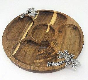 Petisqueira de madeira circular - Coqueiro