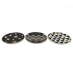 Conjunto de pratinhos decorativos redondos - 12 x 12 cm - 3 peças