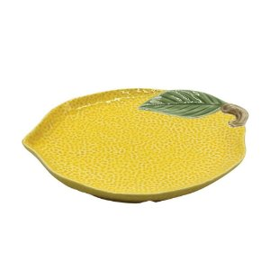 Prato decorativo de porcelana lemon - 19,8 x 16,2 x 2,5cm