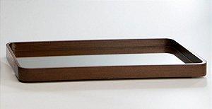 Bandeja de Madeira e Vidro - 48 x 27 cm