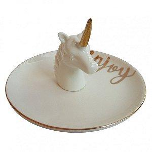 Mini prato decorativo unicórnio branco e dourado - 13 x 8 cm