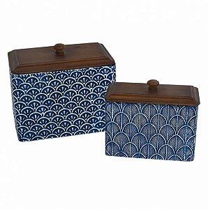 Conjunto de potes em metal e tampa de madeira azul e branco - 2 peças